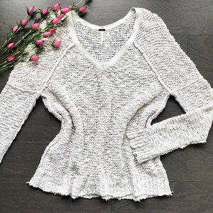 Free People • Songbird Nubby Knit V-Neck Sweater